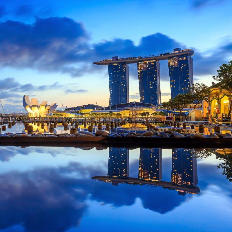 Soluppgång i morgonen på Singapore Marina Bay royaltyfri bild
