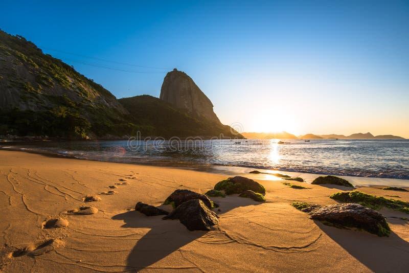 Soluppgång i stranden royaltyfria bilder