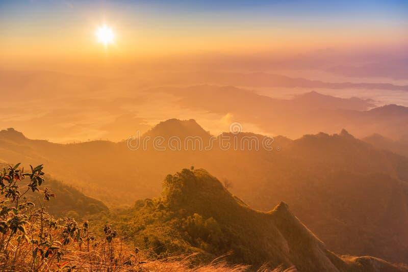 Soluppgång med dimma täckte lagerbergkullar i otta från siktspunkt av berget för den Phu chien Dao eller Phu Chee Dao på Chiang royaltyfria foton