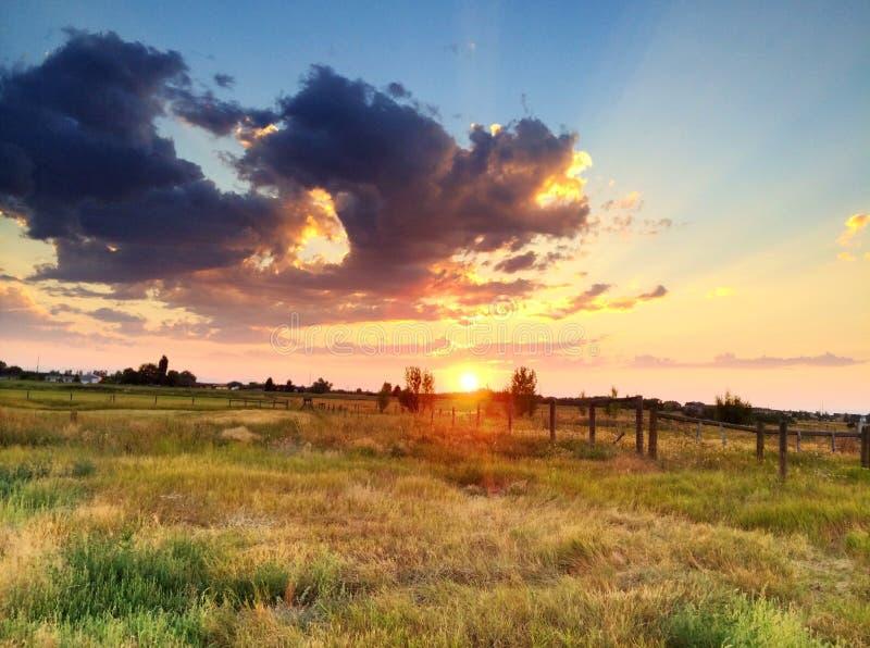 Soluppgång Montana arkivfoto