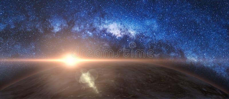 Soluppgång och jord i galax för mjölkaktig väg royaltyfria foton