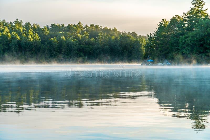 Soluppgång och mist över sjön arkivfoto