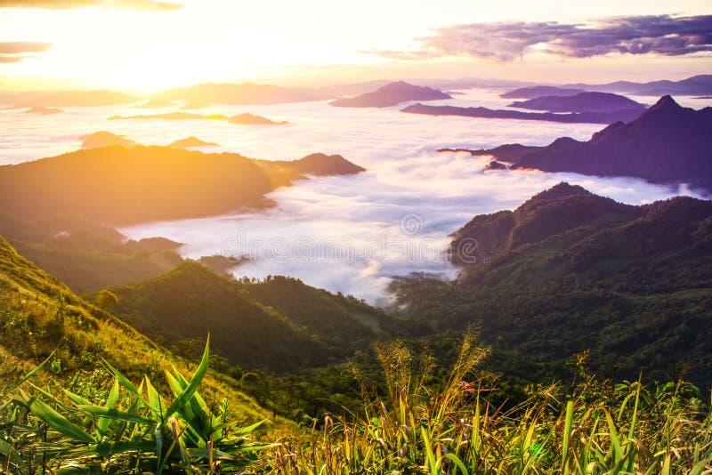 Soluppgång- och molnmist, naturlandskapbakgrund royaltyfria bilder