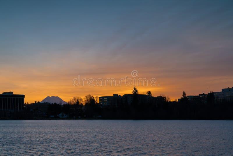 Soluppgång Olympia Washington arkivfoto