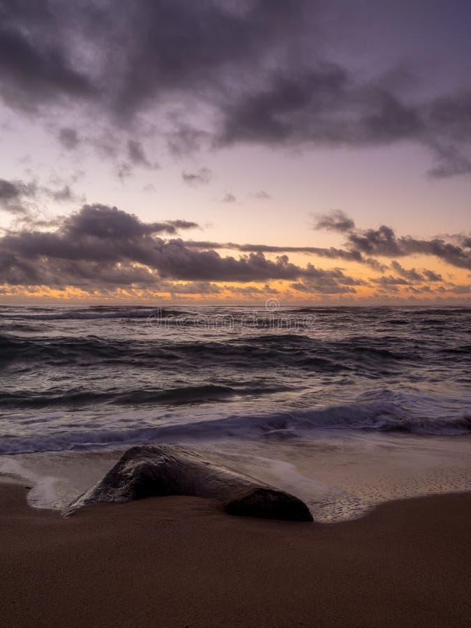 Soluppgång på östlig kust av Kauai arkivbild