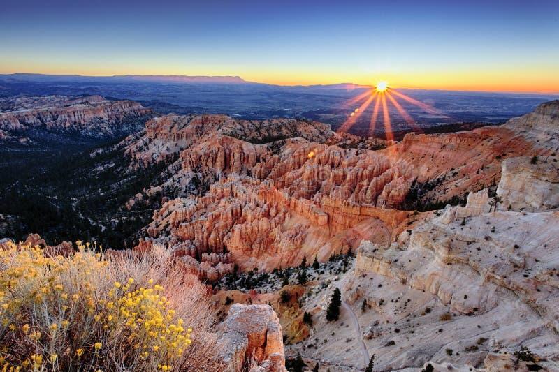 Soluppgång på den Bryce kanjonen fotografering för bildbyråer