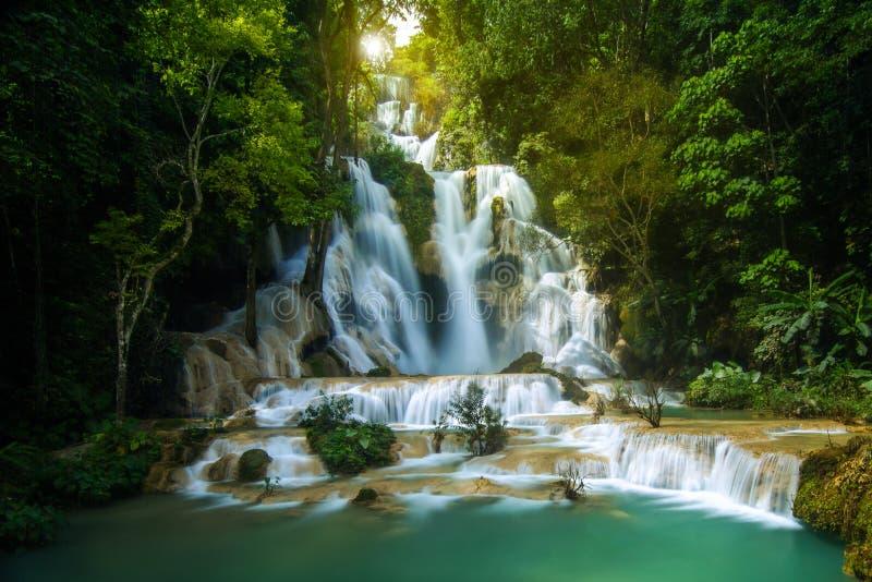 Soluppgång på den Kuang Si vattenfallet i Luang Prabang, Laos royaltyfria foton