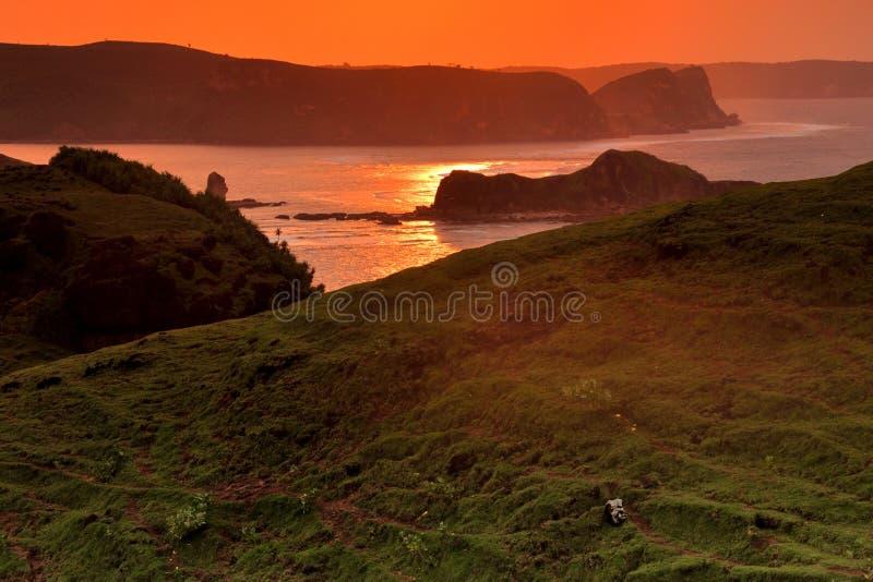 Soluppgång på den Merese kullen arkivfoto