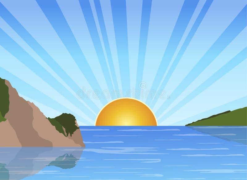 Soluppgång på havet royaltyfri illustrationer