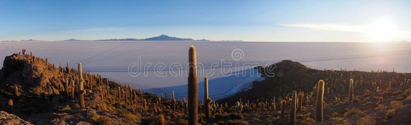 Soluppgång på Isla del Pescado, Salar de Uyuni, Bolivia royaltyfria bilder