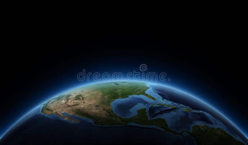 Soluppgång på planetjord royaltyfri illustrationer