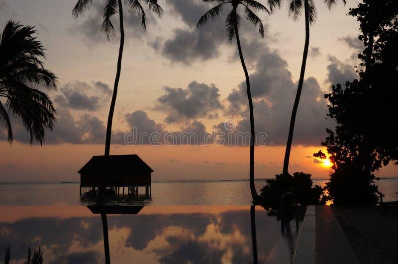 Soluppgång på simbassängen precis bak villan för honungmånevatten royaltyfri bild