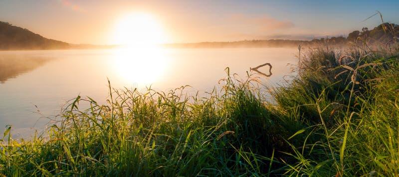 Soluppgång på sjön Samsonvale, Queensland arkivbilder