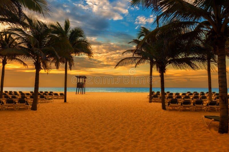 Soluppgång på stranden av en karibisk semesterort royaltyfria foton