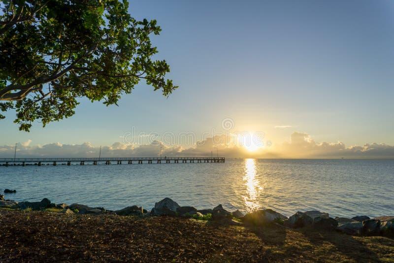 Soluppgång på Wellington Point, nära Brisbane, Australien royaltyfri bild