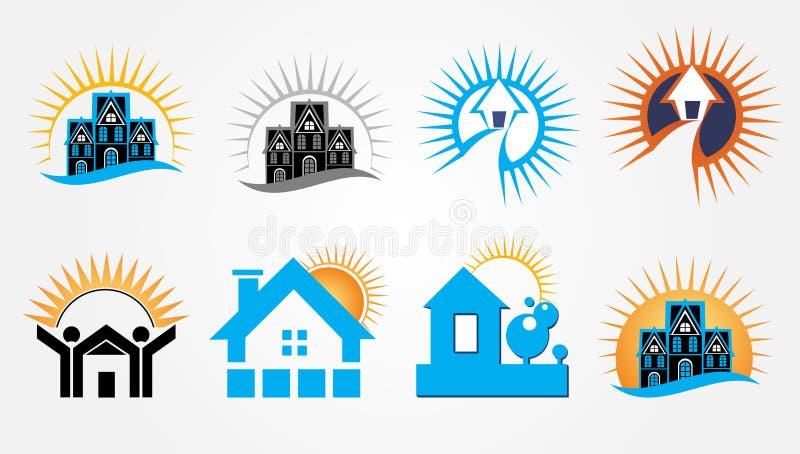 Soluppgång Real Estate Logo Design Set vektor illustrationer