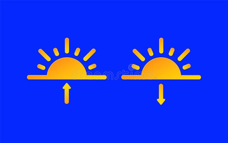 Soluppgång uppsättning för symboler för information om solnedgångväderprognos Sol- och för pilsymbolpapper snittstil Klimatväderb stock illustrationer