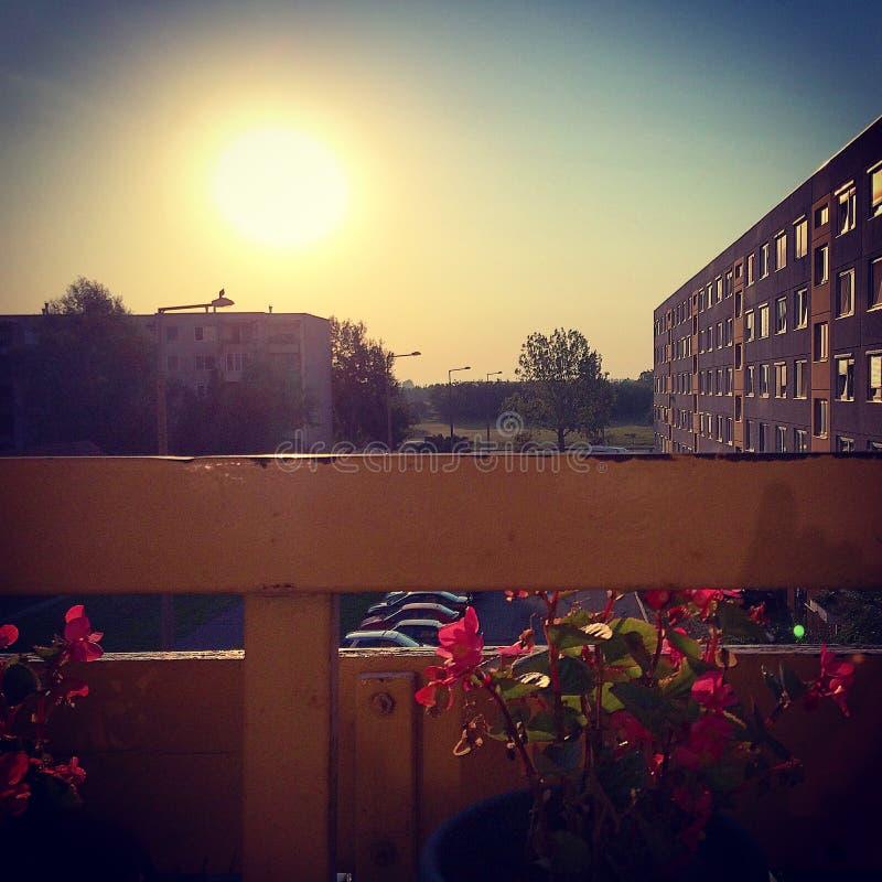 Soluppgångbalkongsikt i staden arkivbilder