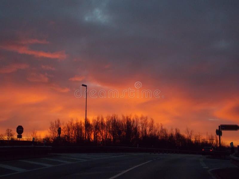 Soluppgången i Tyskland royaltyfri foto