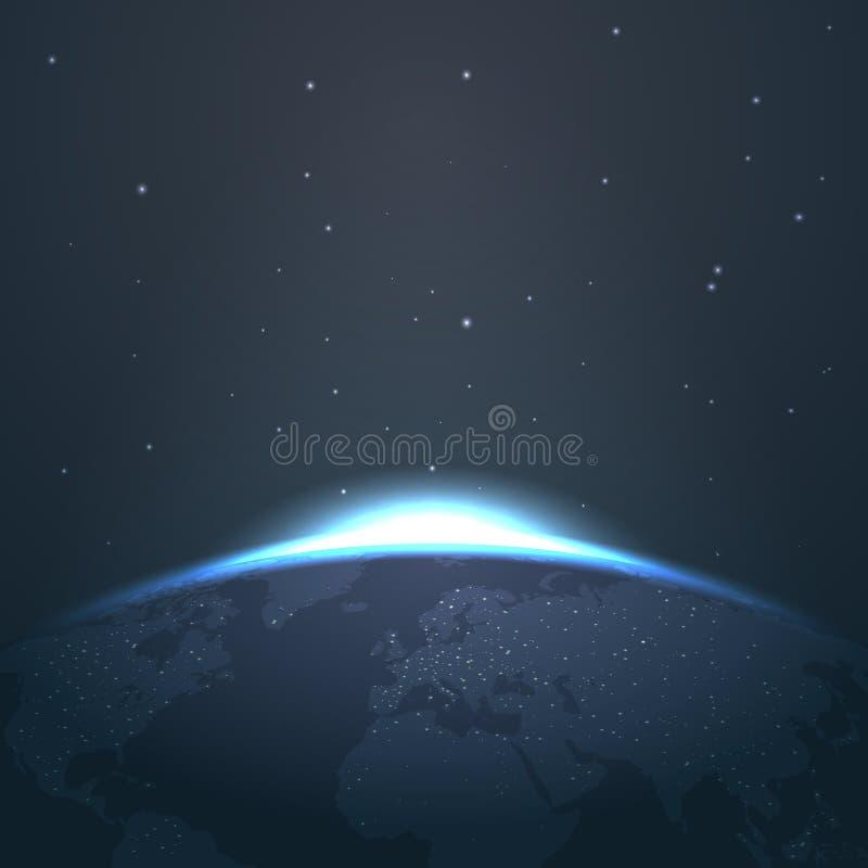 Soluppgånghorisont över jord från utrymme med stjärna- och ljusvektorillustrationen royaltyfri illustrationer