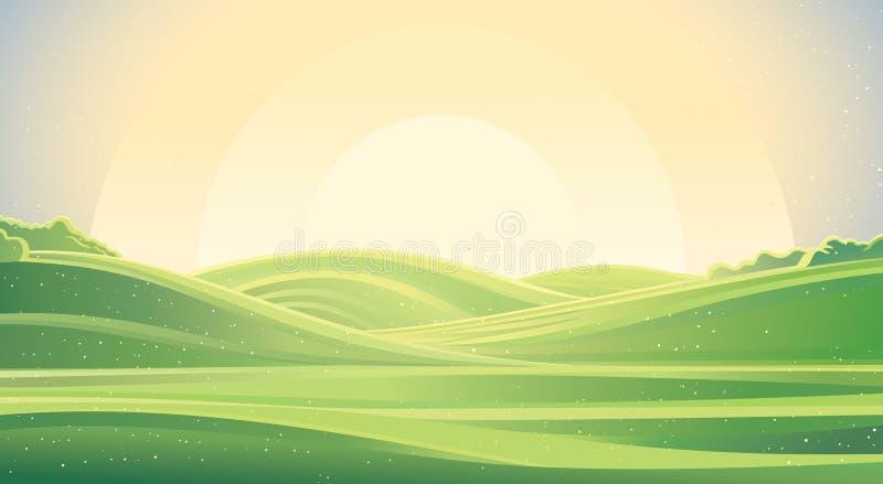 Soluppgånglandskap, naturbakgrund royaltyfri illustrationer