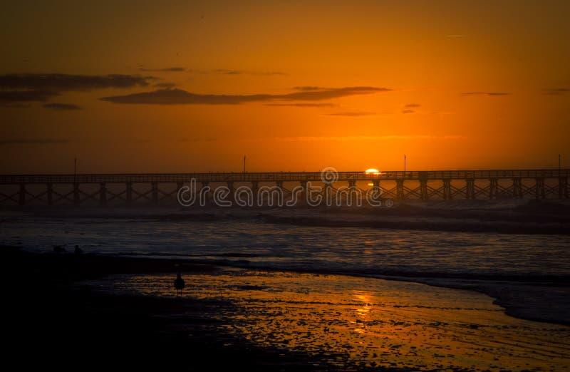 Soluppgångpir Myrtle Beach fotografering för bildbyråer