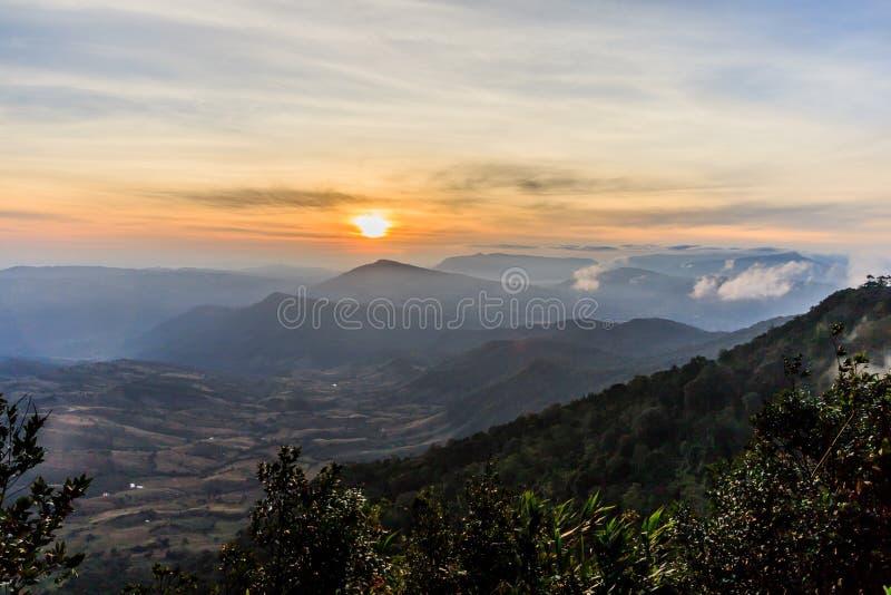 Soluppgångsikt av landskapet på tropisk bergskedja Phu Nat Rua royaltyfri fotografi