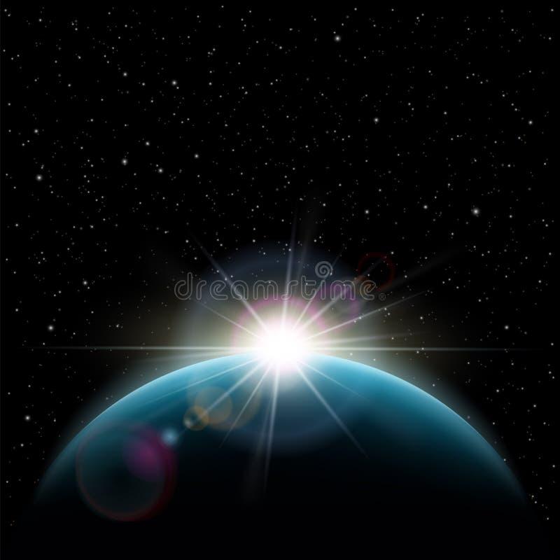 Soluppgångstjärnor solen över planetjorden royaltyfri illustrationer