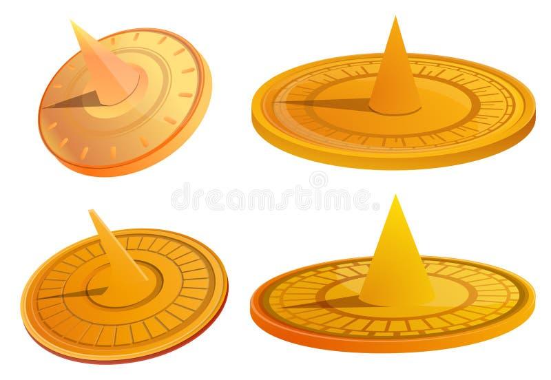 Solursymboler uppsättning, tecknad filmstil royaltyfri illustrationer