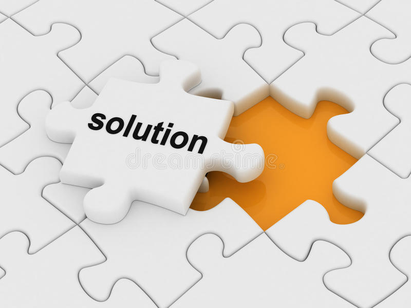 Solution. Word on a piece of puzzle stock illustration