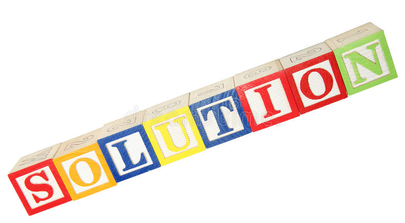 Solution In Alphabet Blocks Royalty Free Stock Images