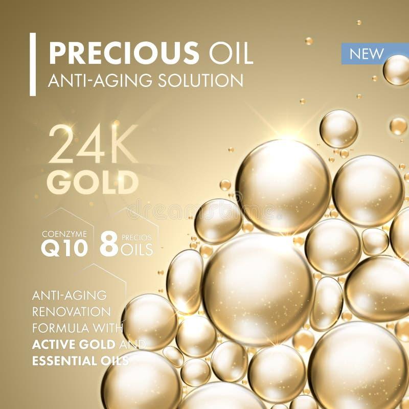 Solution anti-vieillissement de traitement de masque protecteur de perle d'or illustration libre de droits