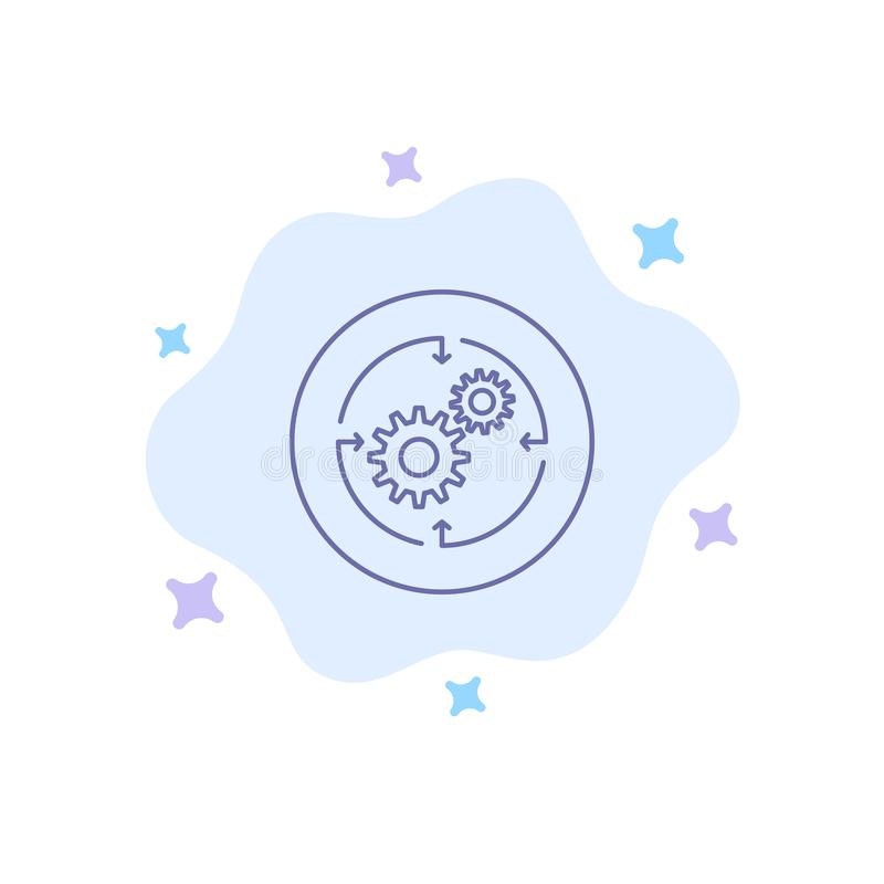 Solution, Business, Company, finances, icône bleue de structure sur le fond abstrait de nuage illustration stock