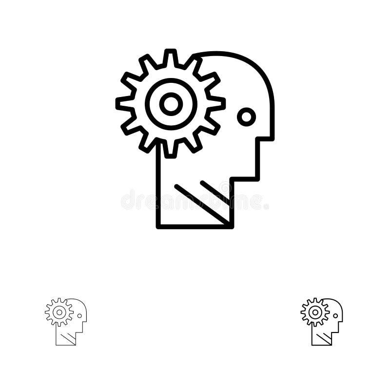 Solution, cerveau, vitesse, homme, mécanisme, personnel, travaillant la ligne noire audacieuse et mince ensemble d'icône illustration stock