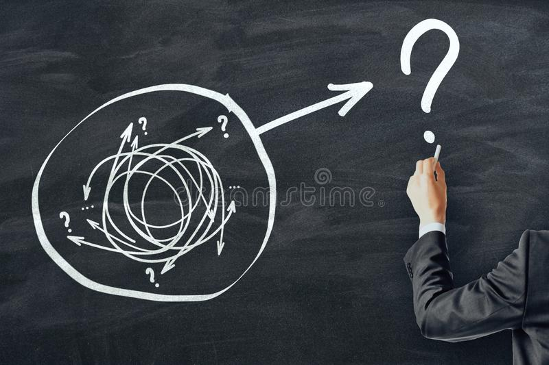 Solution and challenge concept. Businessman hand drawing creative arrow doodle on chalkboard background royalty free stock photo