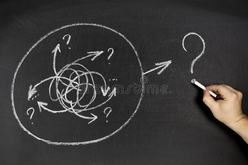 Solution and challenge concept. Man hand drawing creative arrow doodle on chalkboard background royalty free stock photos