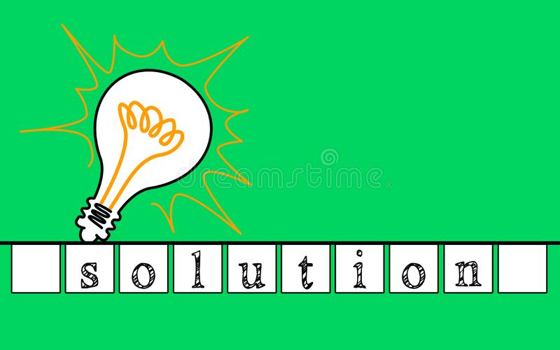 Solution concept with lightbulb on a blue background royalty free stock photography