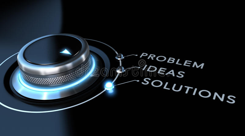 Solution Concept. Solution switch positioned on the word solutions over black and blue background. Concept of problem solving stock illustration