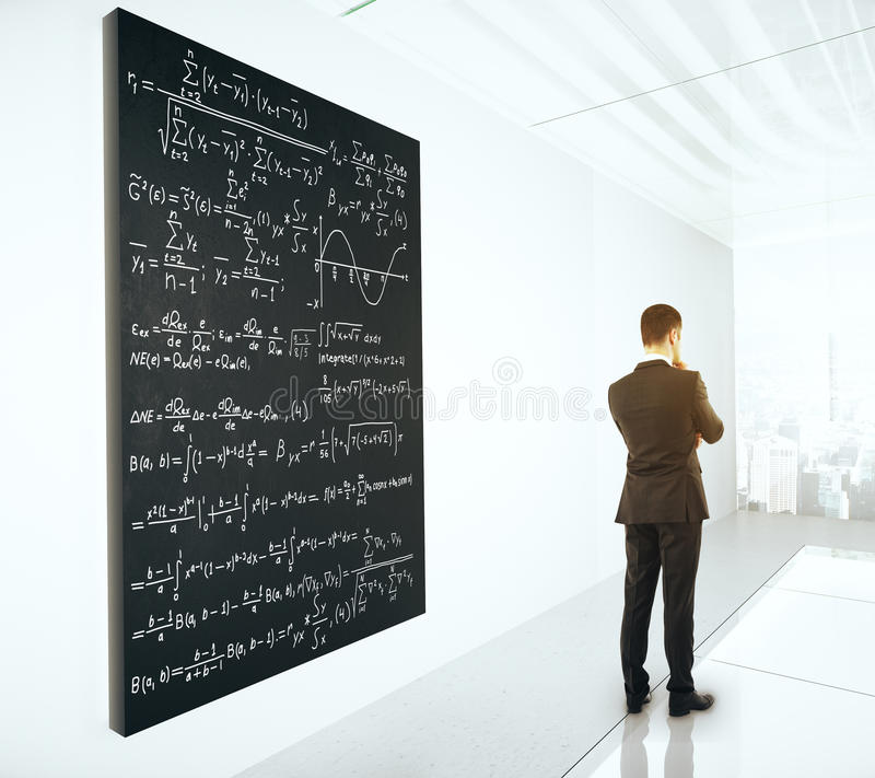 Solution concept. With thoughtful businessman next to blackboard with mathematical formulas. 3D Render stock photography