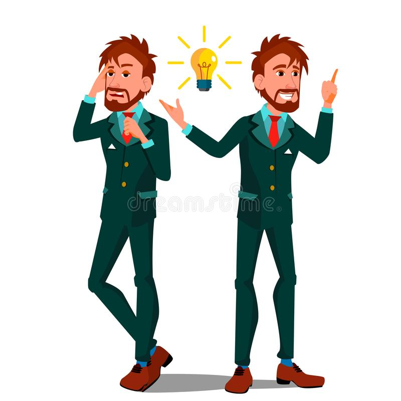 Solution Concept Vector. Businessman. Solution Of The Problem. Success Strategy. Brainstorming, Find Way Out. Great Idea royalty free illustration