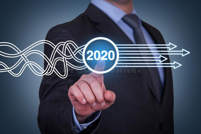 Solution Concepts New Year 2020 on Visual Screen royalty free stock images
