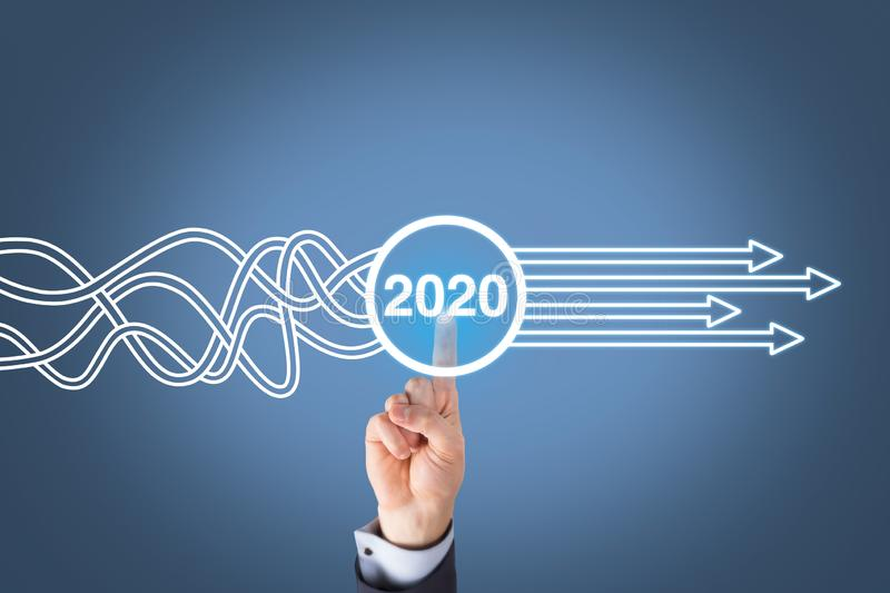 Solution Concepts New Year 2020 on Visual Screen stock photos