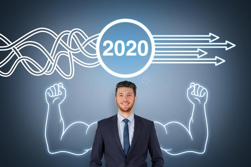 Solution Concepts New Year 2020 on Visual Screen stock images