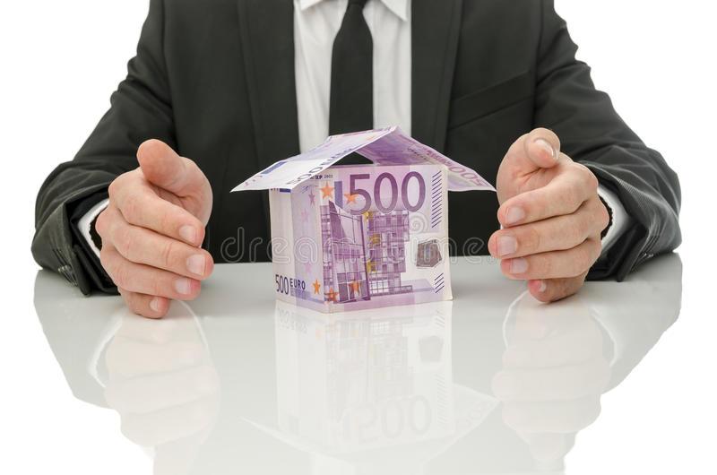 Solution de crise d'immobiliers et d'assurance photographie stock