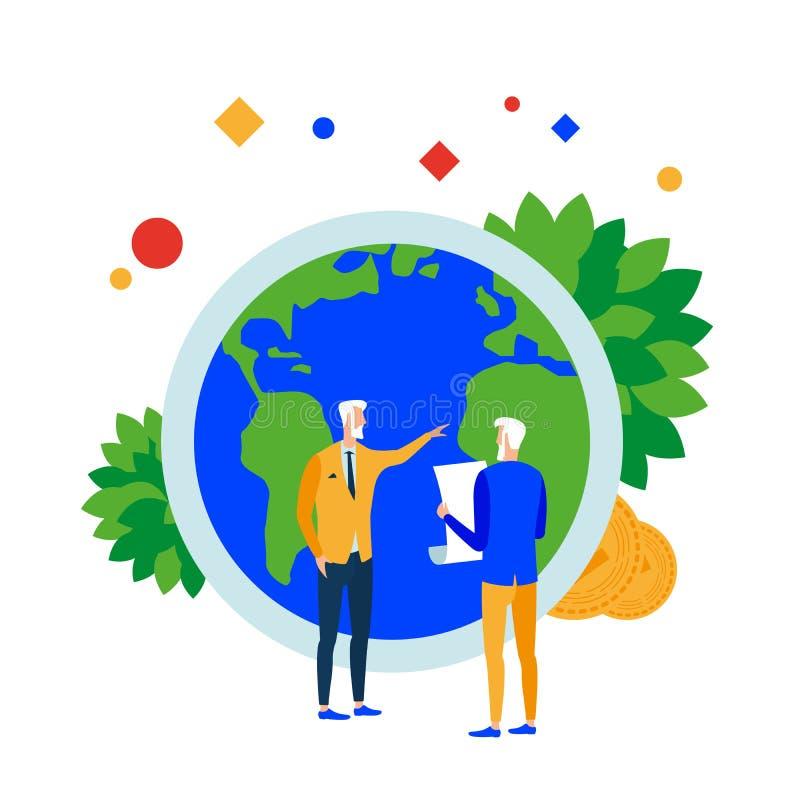 Solution de la terre Les gens résolvent des problèmes de la terre Sécurité financière, économique et environnementale Responsabil illustration de vecteur