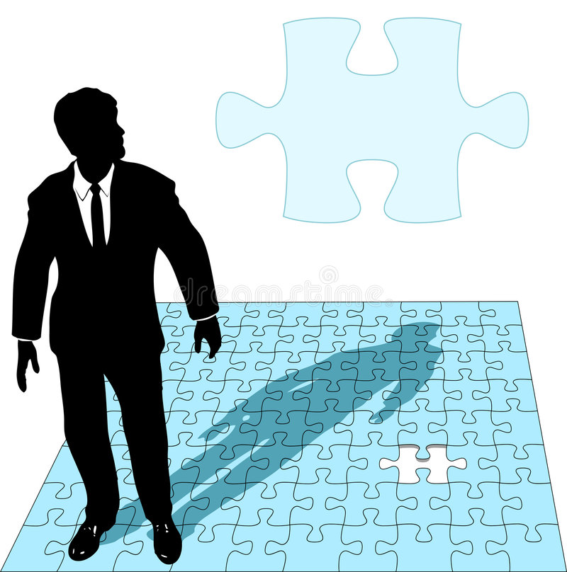 Solution de puzzle denteux d'homme d'affaires illustration de vecteur