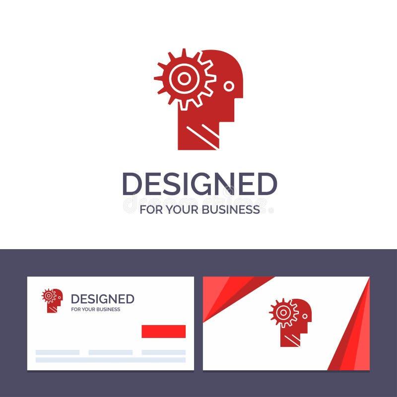 Solution de visite de calibre créatif de carte de visite professionnelle et de logo, cerveau, vitesse, homme, mécanisme, illustra illustration libre de droits