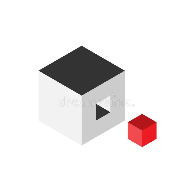 Solution design element concept. Block of 3D cubes with last red piece outside. Vector illustration.  stock illustration
