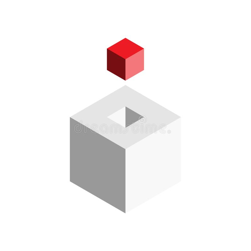 Solution design element concept. Block of 3D cubes with last red piece outside. Vector illustration.  royalty free illustration