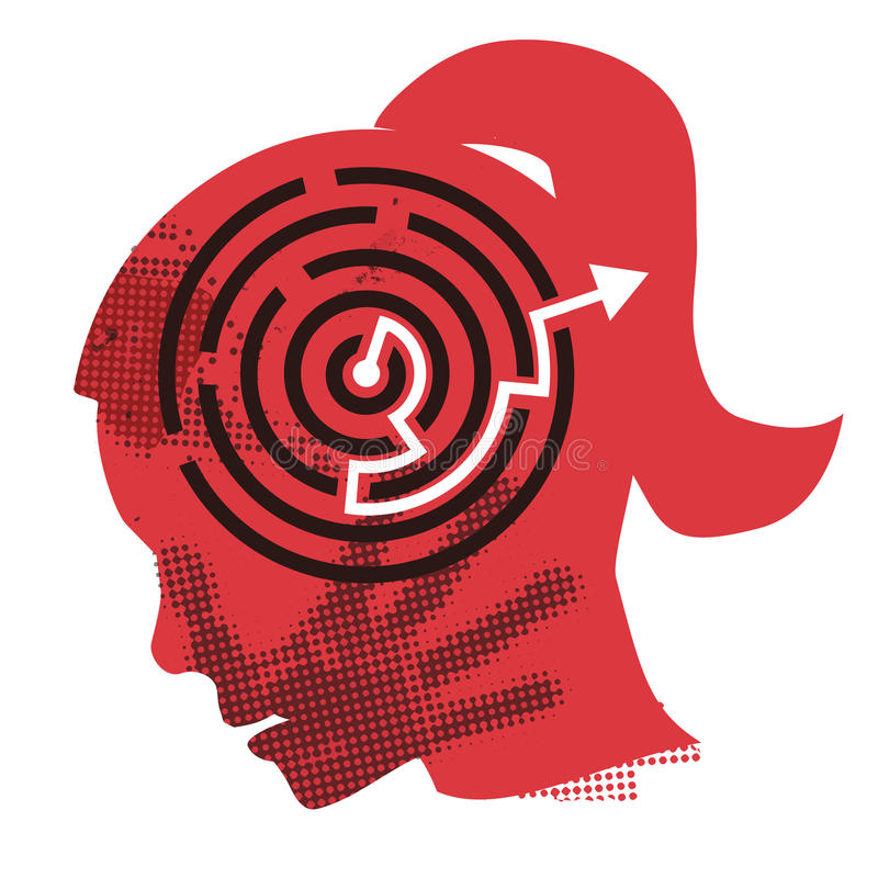 Solution of domestic violence. Young Woman grunge silhouette with hand print on the face and solved maze symbolizing Solution of domestic violence . Vector stock illustration
